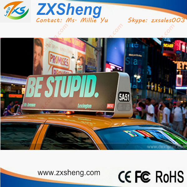 Car Top Sign, Taxi LED Sign on Topper, LED Advertising Screen Alibaba Express ZXSheng LED
