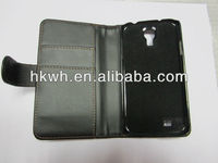 Black PU Leather Flip Wallet Cover Case for Samsung Galaxy S4 i9500