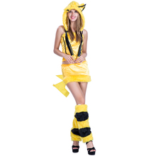 adult women animal Pikachu jumpsuit costumes for cosplay carnival party fluffy
