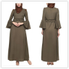 latest design muslim dress plus size long sleeve Olive Green Islamic muslim Long dress