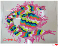 colorful with fringe scarf sweden team scarf kerchief scarf