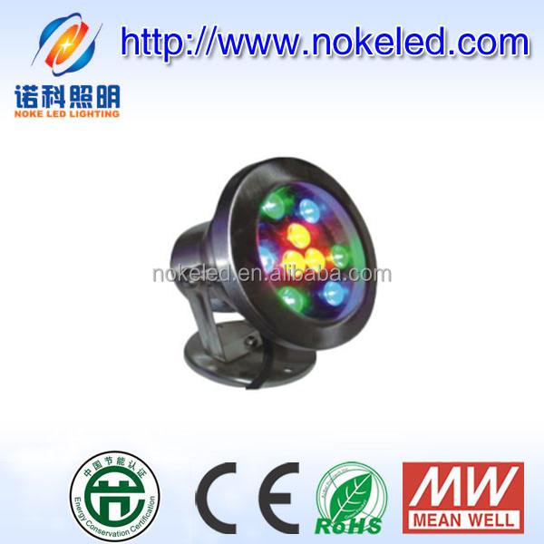 12v IP68 stainless steel material dmx rgb 9w 12w fountain led underwater light