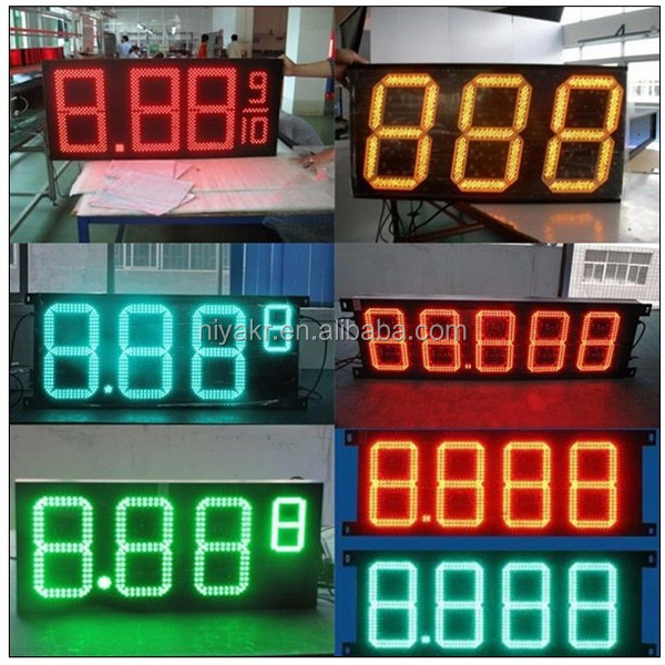 Niyakr 2017 hotselling large 7 segment led display for wholesale gas price sign in alibaba
