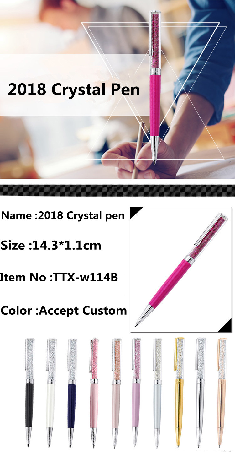 2017 low price good quality Premium Quality Crystal Brand Calligraphy Metal Ball Pen
