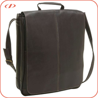 Two compartments 17 inch leather laptop bags