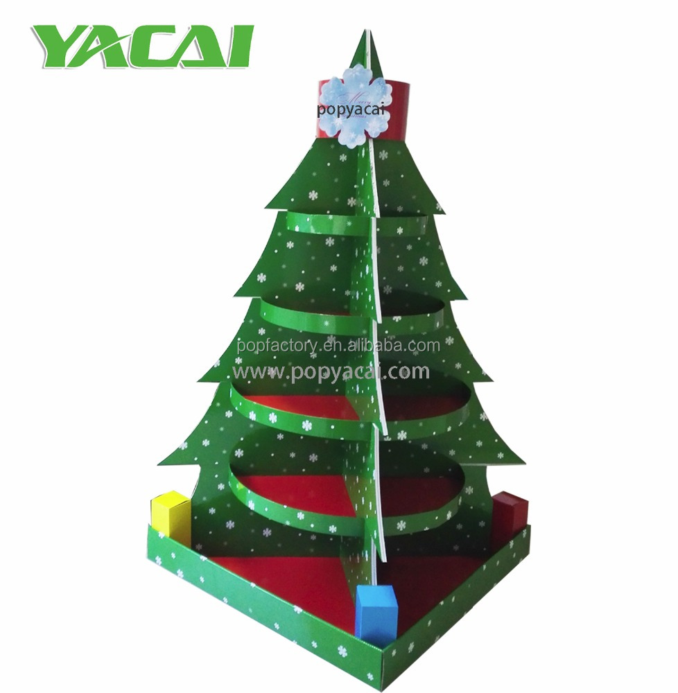 Christmas Tree Cardboard Display, seasonal corrugated cardboard floor display with shelves for promotion