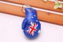 High quality printing PVC leather national flag Boxing Glove Keychain /country flag Mini boxing glove keyring for promotion