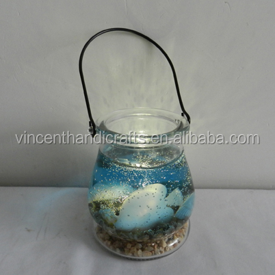 Fancy novel gifts ocean style hanging glass jar LED lights dest decoration