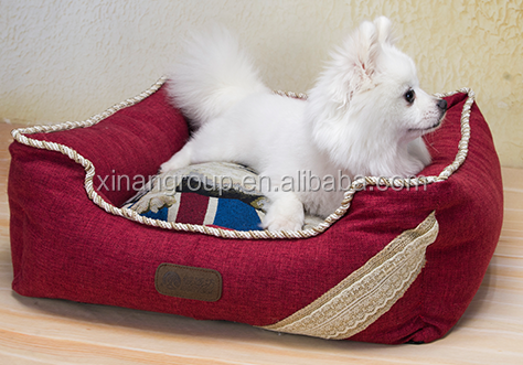 Plush padded PP filling pet bolster dog bed