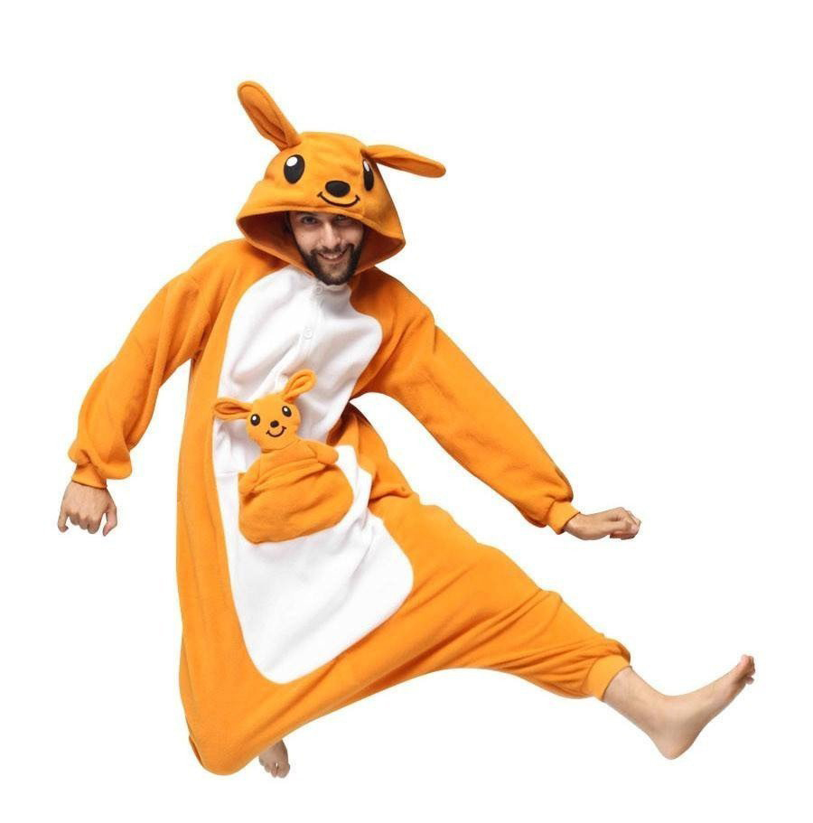 <strong>A08</strong> Adults' Pajamas Kangaroo Onesie Pajamas flannel Fleece Orange Cosplay For Men and Women Animal Sleepwear Cartoon Festival