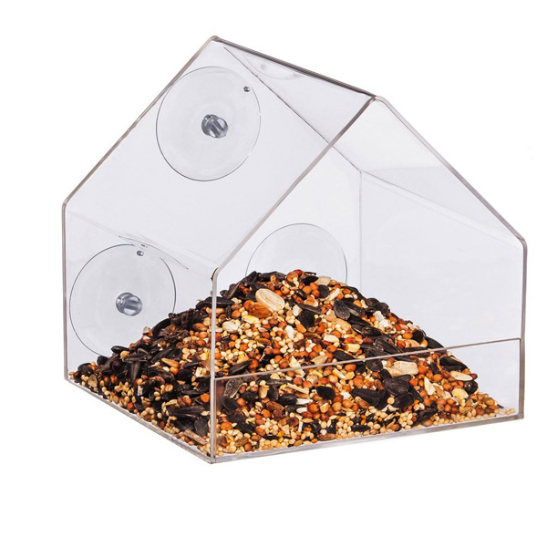 Acrylic house shape bird feeder pet feeder bird cage with suction cup tranparent or semi-transparent colorful choice