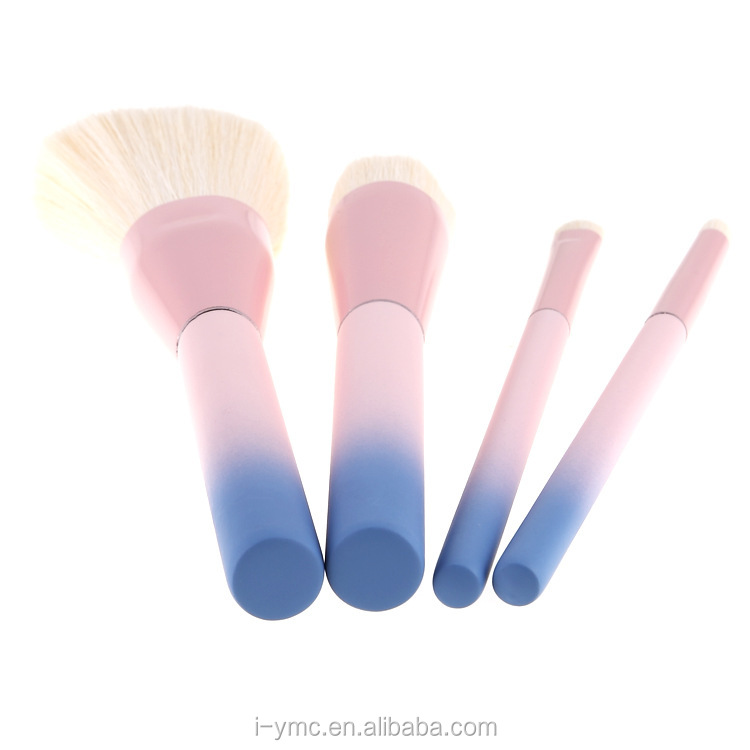 Popular pink blue 4 Piece changing color makeup brushes set