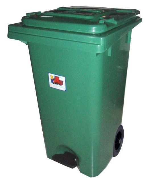 PLASTIC PEDAL DUSTBIN WITH WHEELS & COVER 120 LITERS