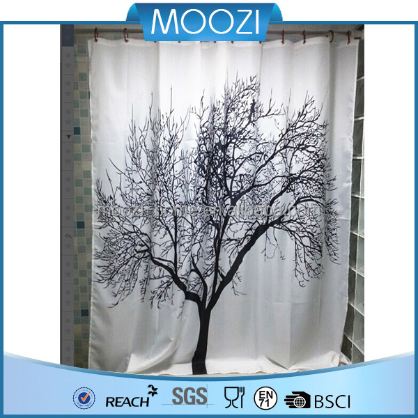 Waterproof Shower Curtain With Tree Design 180 cm X 180 cm