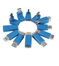 Various USB3.0 AM to AF L Shape Converter Adapter USB 3.0 A Male to A Female 90 Degree Angle Plug Blue