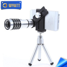 Wyatt 2017 Universal Clip Camera Lens 12X Zoom Telephoto Phone Optical Lens Camera Telescope Len+Mount Tripod For iPhone Samsung