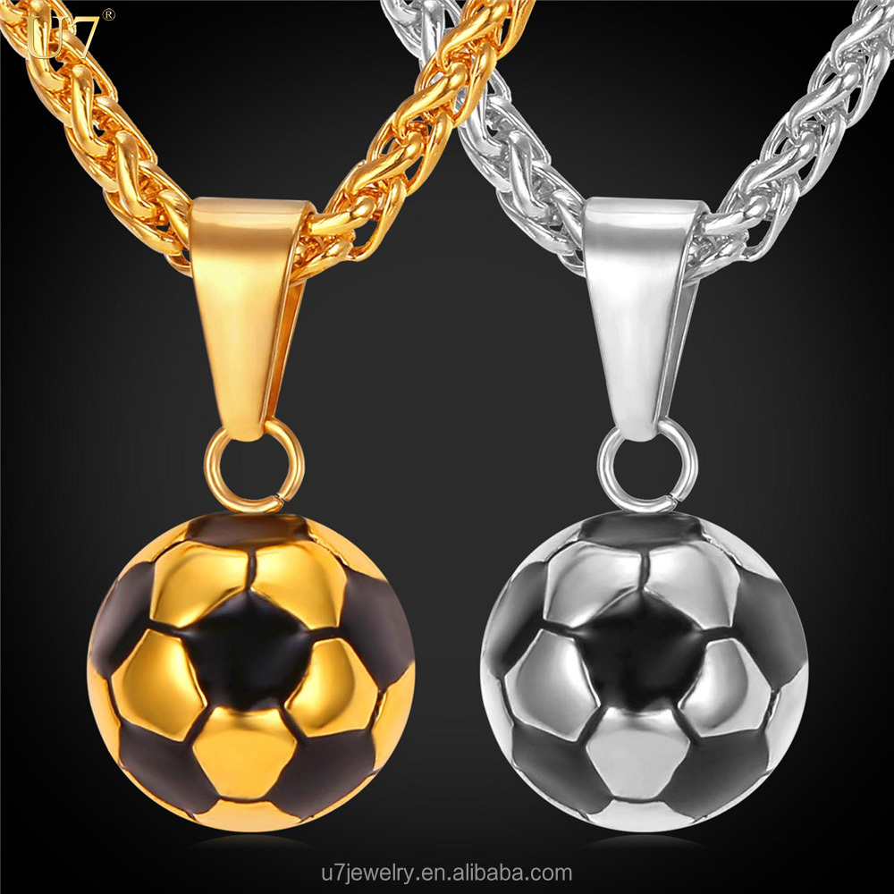 Football Pendant Necklace With Wheat Chain Stainless Steel Soccer Necklace Gold Plated Men/Women Jewelry Sporty Gym necklace