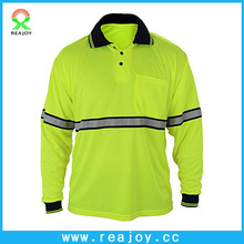 Wholesale long sleeve buttons high visibility polo shirts