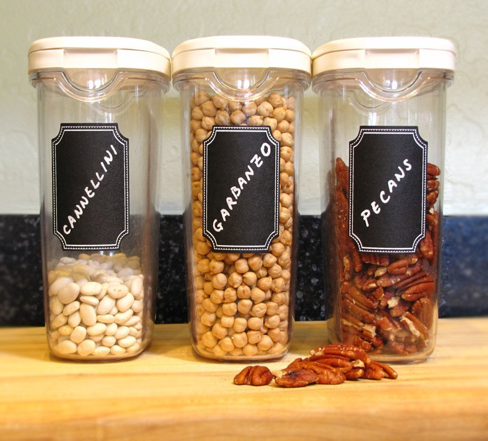 Krijtbord Voor Keuken : Chalkboard Spice Bottle Labels