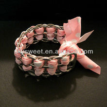 Recycled Soda Pop Can Tab Bracelet Pink & Silver Sparkle Ribbon Bracelet,Summer Jewelry(SWTBC083)