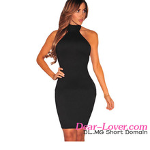 Ladies Short Dresses 2016 Hot Very Cheap Black Lace up Back Halter Mini Dress