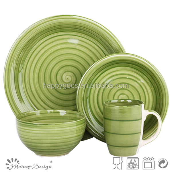 green striped round milk dinnerware set