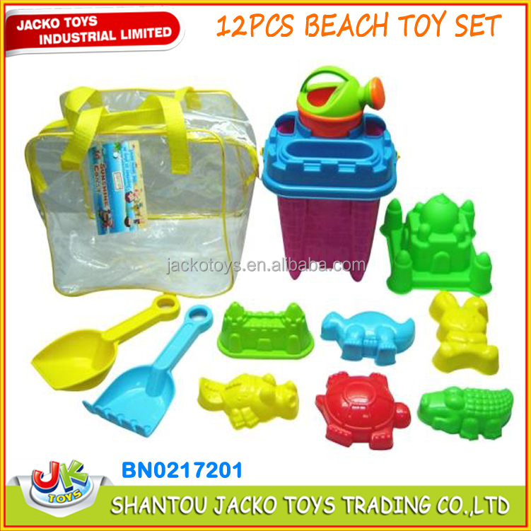 12PCS beach sand toy set in zippered bag castle bucket