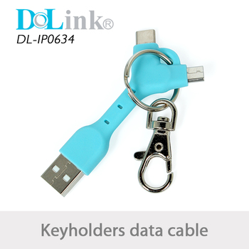Promotional Multifunction Wholesale 3in1 Keychain Holder data type-c usb charge cable For Moblie Smartphone