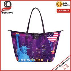New York City Skyline Print Shopping Shoulder Tote Bag