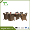Rattan Patio Dining Set Wicker Dining Table Outdoor Furniture With 1 table and six rattan chairs