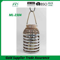 Table top and hanging use LED candle zinc weaving new design popular wooden lantern