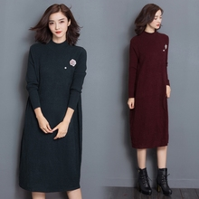 trendy women ladies elegant spring autumn knit long sleeves plain long dress sweater