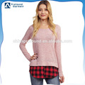Custom plain fashionable plaid hem color block scoop bottom extended t shirt wholesale