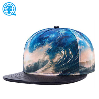Flat leather brim digital printing sublimation printed hats and cap, 100 polyester cap bandana galaxy 5 panel snapback hat new