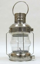 Vintage Ship's Light Anchor Lamp Chrome Iron With Oil Lamp
