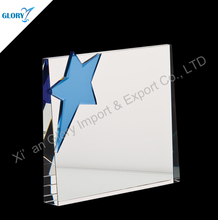 Sales Promotion Blank Cheap Crystal Trophies With Blue Star