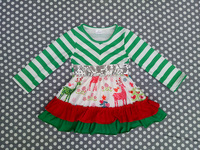 Christmas infant girl dress stripe winter clothes baby boutique clothing