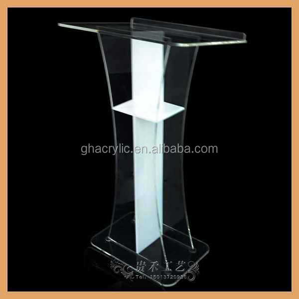 Transparent plexiglass church pulpit,organic glass pulpit design