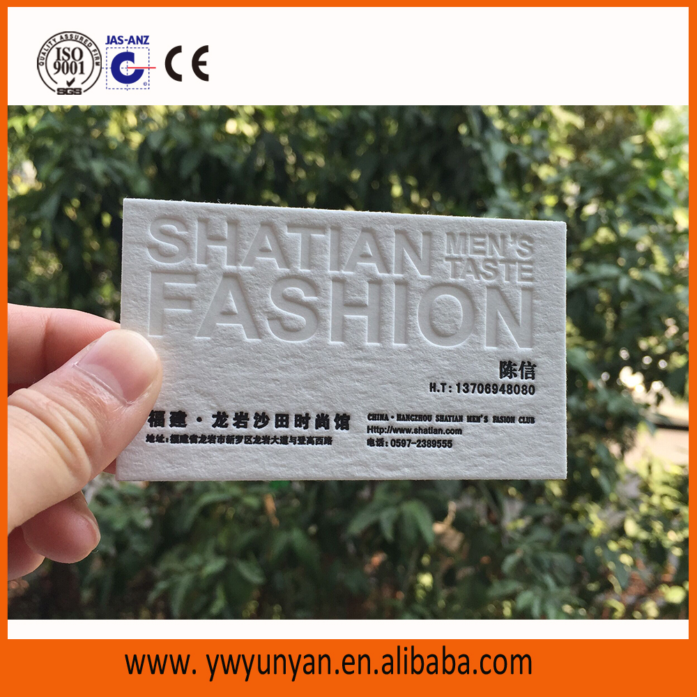 Hard paper embossed letterpress business cards printing customized card
