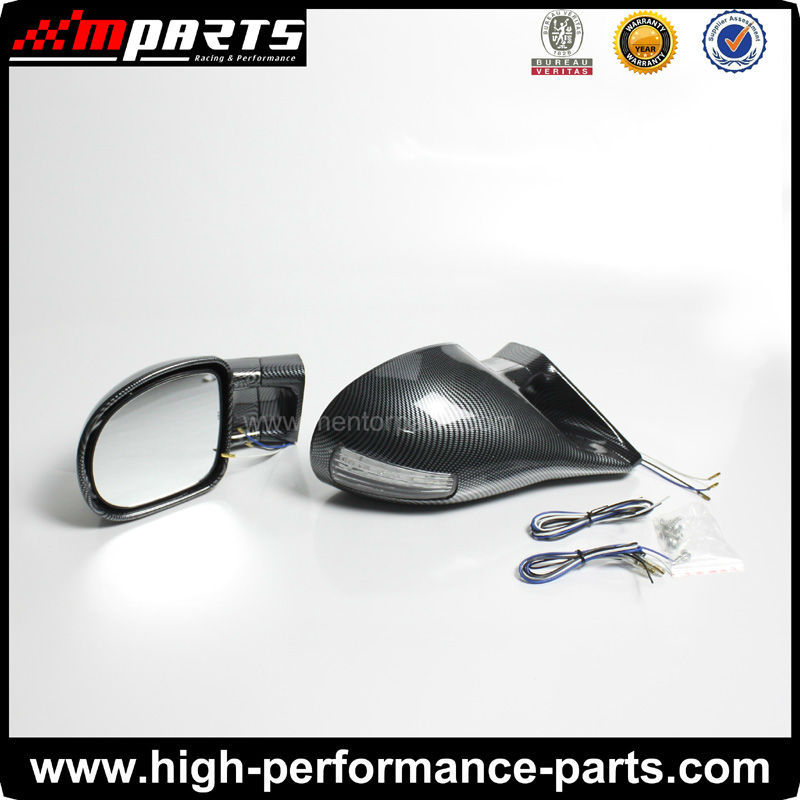 Car Universal Manual Electric with Light Black Chrome Carbon Door Mirror