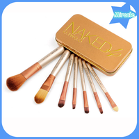 Hot sale naked 4 7pcs per set cosmetic makeup brushes synthetic hair golden color handle makeup brush set