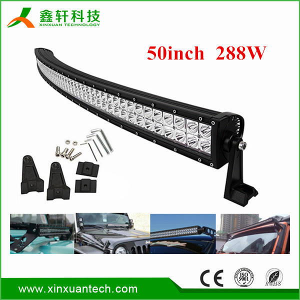 HOT!!! 19200lm ip67 50 inch 288w 0ffroad 4x4 curved led light bar with CE ROHS listed