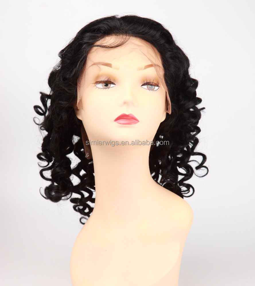 "2017 Hot Sale Factory Direct Wholesale <strong>150</strong>% Density 9A Brazilian Virgin Human Hair Full Lace Wig 16"" Deep Wave"