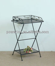 Antique Decorative Fashion Wrought Iron Indoor or Outdoor Folding Metal Tray Table