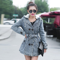 14 new winter long sections Slim thick lamb's wool denim jacket cotton padded coat
