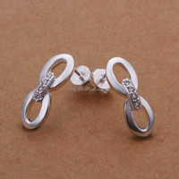 925 Sterling Silver Rhinestone Infinity Stude Earrings