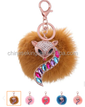 2017 new design animal fur pom pom keychain wholesale Fur ball animal keychain hot selling fur ball woman bag charms