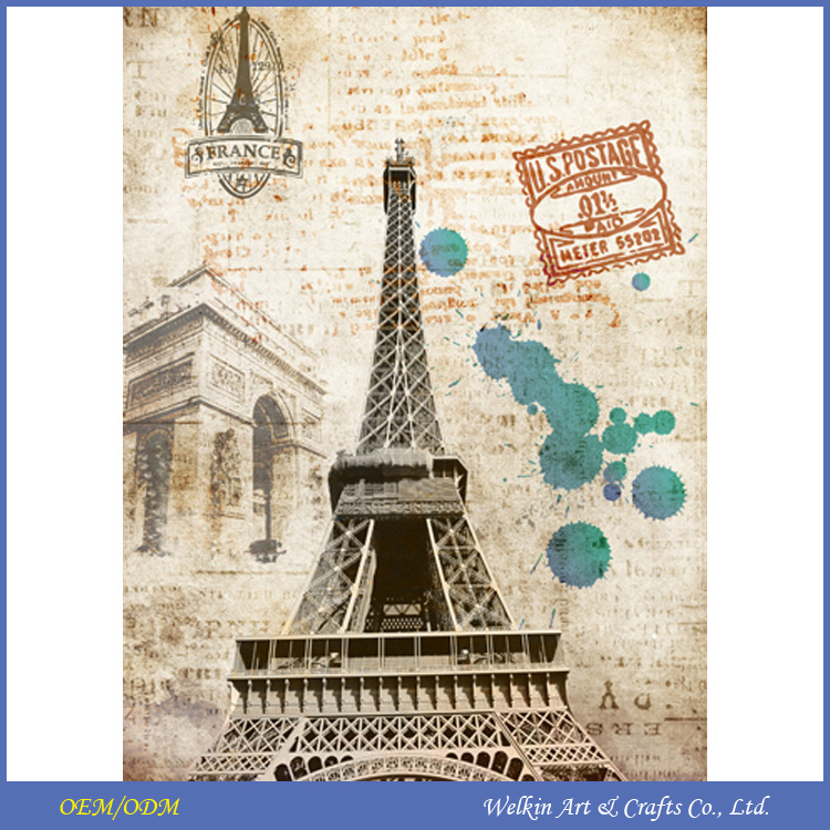 Beautiful Eiffel Tower paris painting on canvas with LED light