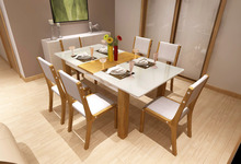 Tempered glass & solid wood dining room tables/dining table set