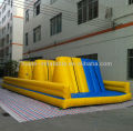 Yellow and blue three walls inflatable obstacle